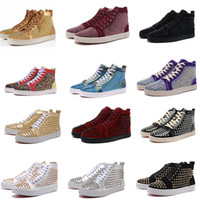Wholesale Top Mens Dress Shoes - Unisex Top Brand Mens Casual shoes Red Bottom Luxury Spring Autumn Women Flats Studded gold Spikes Rhinestone Sneakers High cut Dress shoes