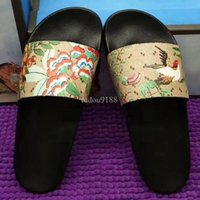 Wholesale Heel Pattern Print - 2017 mens and womens fashion Floral pattern printing leather flat slide sandals unisex size euro 35-45