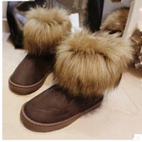 Wholesale Grey Fox Fur Warm - Wholesale-2016 boots for women winter warm high short snow boots artificial fox rabbit fur leather tassel women's shoes
