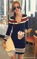 Wholesale Knitted Tunic Dress - Wholesale- New Women Korean Fashion Navy Blue Stripe V Neck Long Sleeve Slim Knit Dress Knitted Tunic Pullover Sweater Casual Warm Knitwear