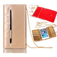 Wholesale Iphone Chain Wallet - Metal Chain Handbag Style Wallet Case For iPhone 6S 6 7 Plus Samsung S7 Edge S8 Plus PU Leather Flip Cover OppBag