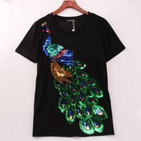 Wholesale Noble Clothes - 2017 Noble Elegant T shirt Women Peacock Sequined Sequins T-shirt Women Fashion New Top Tee Shirt Femmer Woman Sakura Clothes