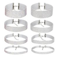 Wholesale Bridal Bib Necklaces - AB  White Crystal Rhinestone Chokers Necklaces Bridal Wedding Party Prom Jewelry Gifts Elastic Bib Collar Necklaces HZ