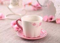 Wholesale Garden Spoons - Genuine Starbucks Valentine's Day Peach blossom Peach Garden Mug with tray 237ML Pink ceramic coffee cup gift
