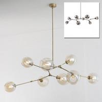 ingrosso sfere chiare per gli alberi-Lampada a sospensione vintage a forma di palla sfera industriale LOFT industriale Droplight in ferro Lampada a sospensione moderna a forma di albero in oro nero