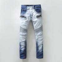 Wholesale dark jeans for mens - Wholesale-2016 Mens Blue Skinny Biker Jeans Famous Brands Denim Joggers Pants for Man 100% Cotton Brand Slim Fit Jean Demin Trousers Sales