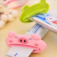 Wholesale Toothbrush Tube - Bathroom Creative Cartoon Animal Toothpaste Squeezer Bath Toothbrush Tube Rolling Holder Tools Dispenser Squeezing Bathroom Set