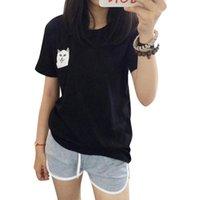 Wholesale Yellow Middle Finger T Shirts - Women T Shirt 2017 Summer Style T-shirt Print Middle Finger Pocket Cat Harajuku O-neck Short Sleeve Cotton Couple Tee Plus Size