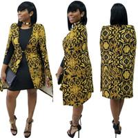 Wholesale Ladies Sleeveless Cardigans - Wholesale- 2017 Womens Windbreaker Jacket Sleeveless Dashiki cape Cardigan Cloak British Vintage Gold Floral Ladies Casual Basic Coats