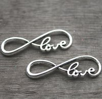 "Wholesale Silver Infinite - 15pcs-- love Charms, Antique Silver letter ""8"" symbol With Love Connector Link Charm Infinite Pendant 13x38mm"