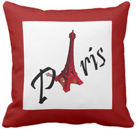 "Wholesale Cushion Eiffel - Throw Pillow Case Paris with Eiffel tower on red background Square Sofa Cushions Cover, ""16inch 18inch 20inch"", Pack of X"