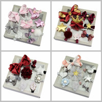 Wholesale Gift Box Bows Wholesale - One Set 10 Pcs New Designs Heart Flower Crown Fur Ball Stars Hair Bows With Clip Hairclip With Gift Box For Present Beautiful HuiLin C112