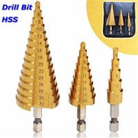 Wholesale Hex Set - 3Pcs 4-12 4-20 4-32mm Step Drill Bit Set 1 4 Inch Hex Shank HSS Step Drill Bit In Pouch