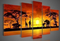 Wholesale Oil Painting African Sunset - Framed 5 panels African Animal in Sunset,genuine Hand Painted Contemporary Wall Decor Landscape Art Oil Painting Canvas Multi sizes Availabl