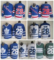 Wholesale ranger patches - Throwback Edmonton Oilers Tie Domi Hockey Jerseys 2002 CCM Vintage 28 Tie Domi Jersey New York Rangers Cheap Stitched 75th Patch