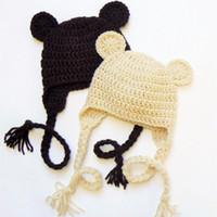 Wholesale Teddy Bear Winter - Teddy Bear Hat,Handmade Knit Crochet Baby Boy Girl Twins Animal Earflap Hat,Children Winter Hat,Toddler Newborn Photo Prop