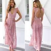 Wholesale Chiffon Dress Transparent Sleeves - Deep V backless ruffle summer dress women Hollow out transparent voile lace dress chiffon long maxi party evening dress vestidos 2017 new