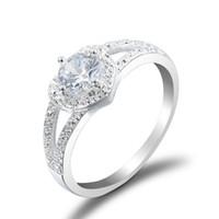 ingrosso anelli di mona lisa-Anelli di cristallo per le donne Mona Lisa Love Heart Shape White / Blue Zircone cubico Wedding Ring Sapphire Jewelry for Women Nuovo arrivo prezzo di fabbrica