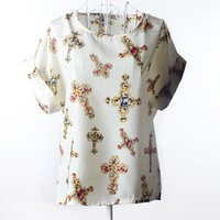 Wholesale Hearts Blouses - Women's Chiffon Blouses Short Sleeve Loose Tops Heart Animal Stripe Leopard Print Pattern Shirt Plus size new Crew Neck Dolman Sleeve