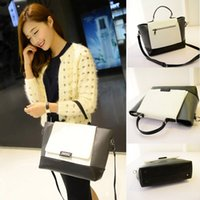 Wholesale Color Block Handbags Wholesales - Fashion Women OL Handbag PU Leather Color Block Magnetic Button Tote Crossbody Messenger Bag H13706B