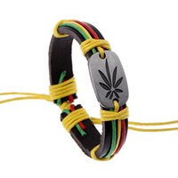 Wholesale Yellow Braided Bracelets Wholesale - Wholesale-Jamaican reggae Leather Bracelets red yellow and green Rope Braided with Alloy leaf hiphop Street Dance SL045