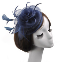 fascinator azul sombreros al por mayor-Gris / Beige / Azul marino / Negro Estilo mexicano Occidental Damas Sombreros de novia clásicos Casquillo pequeño Fascinator Sinamany Sombreros para fiesta Banqut Boda