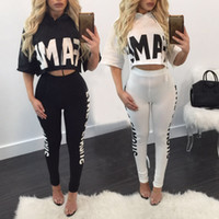 Wholesale Two Piece Night Sexy Girl - 2017 new brand women two piece set top and pants sexy design FAME letter print hooded short top party night club girls set