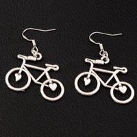 Wholesale Bike Jewelry Silver - Open Heart Bike Bicycle Earrings 925 Silver Fish Ear Hook 30pairs lot Antique Silver 30.8x39mm Chandelier Jewelry E264