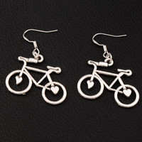 bisiklet kancaları toptan satış-Açık Kalp Bisiklet Bisiklet Küpe 925 Gümüş Balık Kulak Kancası 30 çift / grup Antika Gümüş 30.8x39mm Avize Takı E264