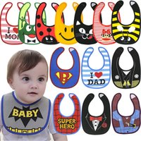 Wholesale Super Cute Girl Baby - 30colors Baby carton print bibs super hero flag insects animals bow dots rainbow pattern infants cute waterproof bibs for boys girls 0-2T