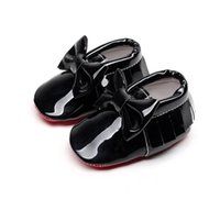 Wholesale Baby Prewalker Shoes Brand - Kids Shoes Baby Shoes Toddler Shoes Cack Bow Soft PU Leather Tassel Moccasins Prewalker New Baby Girls Brand Shoe Baby Shoe Infant Shoe
