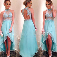 Ice Blue High Low See-through Sexy Prom Dress Appliques Бисерный монетный двор Green Women Evening Party Gown Open Back Hi-Lo Prom Gowns
