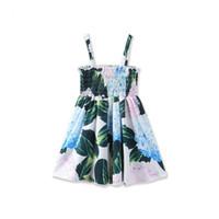 Wholesale Smocked Baby Dresses Wholesale - New Girls Kids Floral Smocked Dress With Shoulder Straps Baby Summer Cotton Suspender Pleated Dress Children Flower Printing Dress For 2-7T