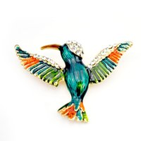 Wholesale rhinestone hummingbird brooch resale online - New Vivid Hummingbird Brooch Pin Crystal Rhinestone Enamel Animal Bird Brooches Women Accessory Fashion Jewelry