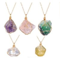 Wholesale fluorite pendant necklace - Handmade Irregular Wire Wrapped Pendant Necklace Women Natural Stone Crystal Quartz Fluorite Popular Necklaces Jewelry Fashion Accessories