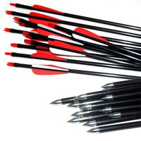 Wholesale fiberglass rods - 12pcs Archery Hunting Nock Feather Fletched Arrows Fiberglass Rod Target Practice Fiber Glass Arrows Archery Bow