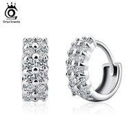 Wholesale Stud Hoop - Orsa Jewelry Cute Small Circle Stud Earrings with Shiny Austrian CZ Zircon Silver Color Fashion Jewelry for Women OE01