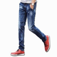 Wholesale Exclusive Jeans - Wholesale- Promotions 2016 Very Soft Denim Famous Brand Exclusive Design Slim Fit Straight Male Jeans Denim Jeans Men With High Quality