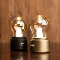 Wholesale Mini Luces - New Vintage Bulb Night Light Retro USB Lamp Rechargeable luminaria Nightlight luces LED energy-saving Book lights Mini Bed Lamps