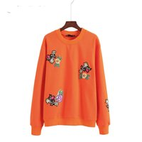 Wholesale Euro Style Candy - Euro Style Embroidered Floral Women Sweatshirt Candy Color Spring Autumn Winter Casual Pullover Basic Tracksuit