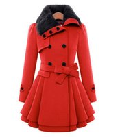 Wholesale Double Breasted Rabbit Coat - New Autumn Winter Women Rabbit Fur Collar Long Coat Jacket Female Blends Woolen Warm Overcoat plus size ladies Slim Fit black Clothing 4XL 5