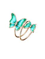 Wholesale Vintage Animal Gold Ring - Neoglory Multilayer Green Gold Plated Enamel Butterfly Vintage Engagement Wedding Round Rings Gifts For Women Big Fashion Jewelry 2017