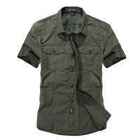 Wholesale Down Double Green - Mens shirts 100% cotton double color Button Shirts Slim Was Thin short sleeve Shirts Men Classic Military Style Men Casual clothes outwear