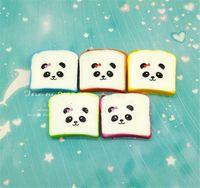 Wholesale Squishy Cartoon Toasts - PU simulation color panda cartoon expression Squishy 6CM toast bread shokugan phone pendant