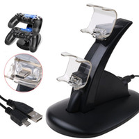 Wholesale Game Charger - For Xbox One Playstation LED Dual USB Charger Dock Mount Charging Stand Holder For Wireless PS4 XBOX ONE Gamepad Game Controllers With Pack
