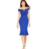 Wholesale Dresses Women S Bow Strapless - Womens Elegant Strapless Off The Shoulder Mermaid Wear To Work Office Party Dresses Women Sheath Pencil Bodycon Midi Dress