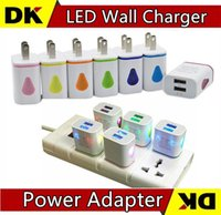 Wholesale Eu Charger For Lg - 200PCS Light Up Water-drop LED Dual USB Ports Home Travel Power Adapter 5V 2.1A + 1A AC US EU Plug Wall Charger For iPhone Samsung LG Tablet