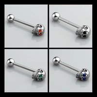 Moda 316L Surgical Steel Skull Tounge Anéis Bares Barbell Tongue Piercing Body Jewelry Tongue Pin