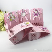 Wholesale Cute Pink Gift Box - Candy Box Baby Full Moon Wedding Decor Cute Bag Celebration Birthday Engraved Gift Boxes Hollow Pink Blue Sweets Case 0 55zj F R
