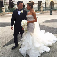 Wholesale Sweetheart Corset Top Wedding Dress - 2017 Shiny Applique Beaded Mermaid Wedding Dress Blingbling Sweetheart Corset Bodice Top Quality Bridal Wedding Gown Vestidos de Novia